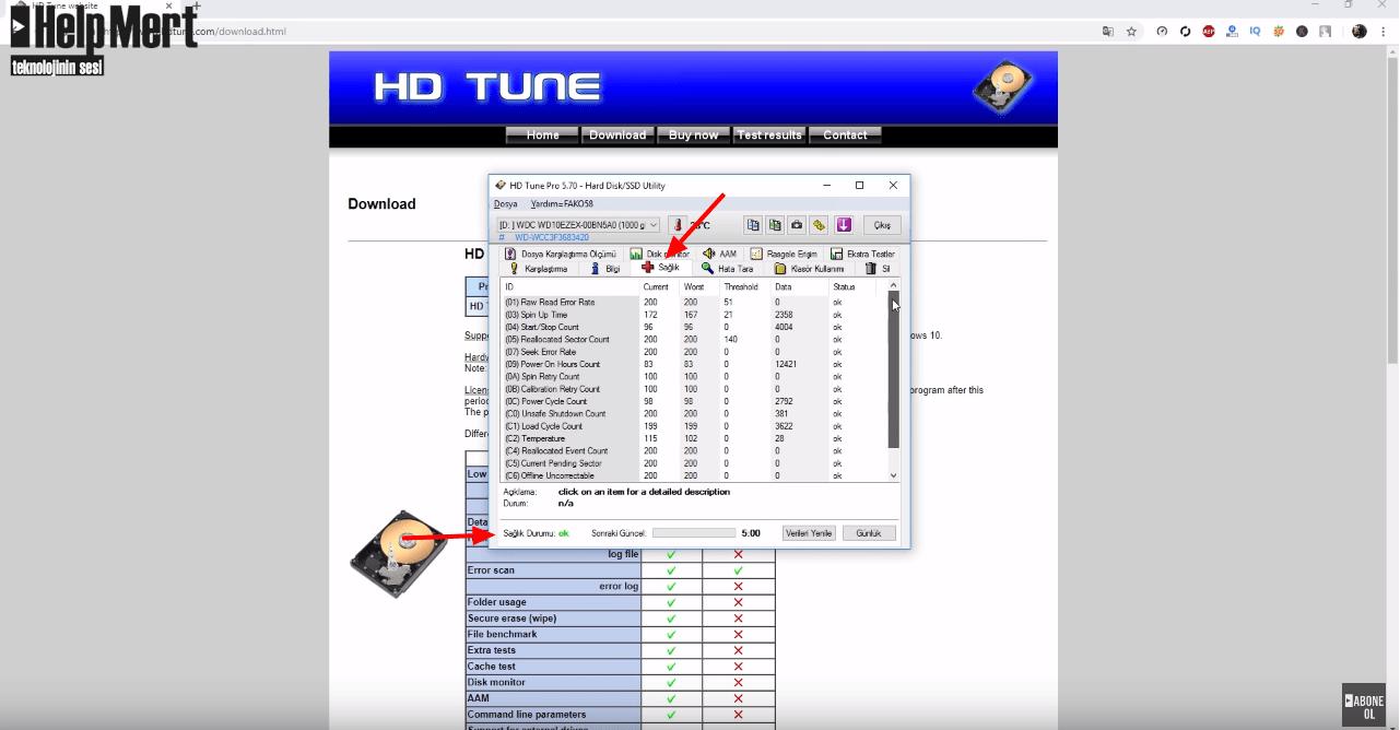 HDTune ile Hard Disk Sağlık Testi | Silinen Dosyalar Nasıl Geri Getirilir?